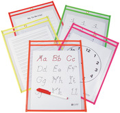 """Assorted Neon Colors - Reusable Dry Erase Pocket 9""""X12"""" 10/Pkg"""