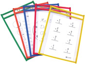 "Assorted Primary Colors - Reusable Dry Erase Pocket 6""X9"" 10/Pkg"