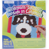"""6""""X6"""" Red Frame - Dog Learn To Sew Needlepoint Kit"""