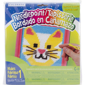 """6""""X6"""" Pink Frame - Cat Learn To Sew Needlepoint Kit"""