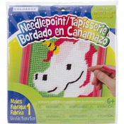 "6""X6"" Pink Frame - Unicorn Learn To Sew Needlepoint Kit"