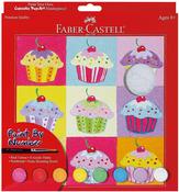 """Cupcake Pop-Art W/Acrylic Paint Pots - Paint By Number Kit 9""""X9"""""""