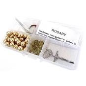 Smoky Crystal Beads/Golden Pearls - Crystal & Pearl Rosary Bead Kit Makes 1