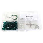 Emerald Crystal Beads/White Pearls - Crystal & Pearl Rosary Bead Kit Makes 1