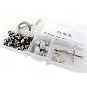 Silver Crystal Beads/Gray Barrel Beads - Crystal & Pearl Rosary Bead Kit Makes 1