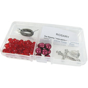 Garnet Crystal Beads/Crimson Pearls - Crystal & Pearl Rosary Bead Kit Makes 1