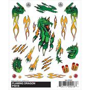 "Flaming Dragon - Pine Car Derby Dry Transfer Decal 4""X5"" Sheet"