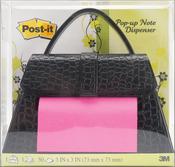 """Black Purse - Post-It Pop Up Notes Dispenser 3""""X3"""" 50/Pkg"""