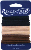 "Black, Cafe and Sand - Sof-Suede Lace .094"" Wide Carded 8yd"