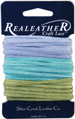 """Light Blue, Aqua and Kiwi - Sof-Suede Lace .094"""" Wide Carded 8yd"""