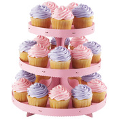 Pink - Corrugated Cupcake Stand 3 Tiers