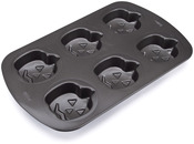 6 Cavity Jack-O-Lantern - Mini Non-Stick Cake Pan