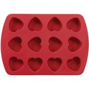 """12 Cavity Petite Heart 1.5""""X1.5""""X1"""" - Mini Silicone Mold"""