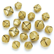 Gold Assorted - Giltter Jingle Bells 18/Pkg