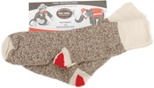Size 6-7 Small Brown Heather - Red Heel Monkey Socks 2 Pairs
