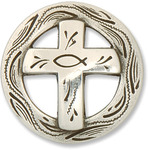 "Christian Cross - Concho Screwback 1.25"" Silver 1/Pkg"