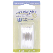 Silver,18 Gauge,4 Yards/Pkg - Artistic Wire Dispenser