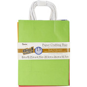 "Assorted Primary - Paper Bags 4.25""X8""X10.25"" 13/Pkg"
