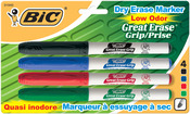 Bic Great Erase Low Odor Dry Erase Markers Fine Point 4/Pkg - Black/Blue/Red/Gre