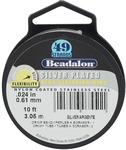 "Silver Plated - Stringing Wire 49-Strand .024""(.61mm) Diameter 10'/Pkg"