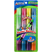 """Bright, 8 Colors - Washable Poster Markers Double-Ended .5"""" Chisel Tip 4/Pkg"""