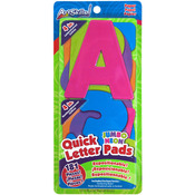 "Quick Letter & Number Pads Repositionable 181/Pkg - Neon Colors Jumbo 4"", W/Cent"