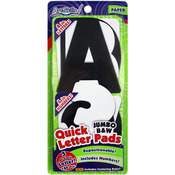 "Quick Letter & Number Pads Repositionable 180/Pkg - Black & White Jumbo 4"" W/Cen"