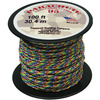 Tie-Dye/Rainbow - Parachute Cord 1.9mm 100'/Pkg PEPPERELL-Parachute Cord 95. Use this cord for starting out a fun and new project using your favorite colors of cord! The cord is made of braided nylon and each strand measures about 2mm thick. The soft braided outer shell is durable, yet cushions, allowing this cord to be flexible, yet comfortable enough to wear against the skin. This package contains one 100ft roll of parachute cord. Available in a variety of colors, each sold separately. Made in USA.