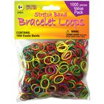 Assorted Colors - Stretch Band Bracelet Loops 1000/Pkg