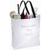White - Here Comes The Bride Wedding Canvas Tote