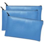 "Blue - Leatherette Vinyl Zippered Wallets 11""X6"" 3/Pkg"