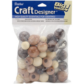 Earth Tones - Assorted Large Wood Beads 45/Pkg
