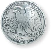 """Eagle Half Dollar - Concho Screwback 1.1875"""" Silver 1/Pkg"""
