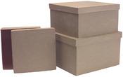 Square Box Set Of 3 - Paper-Mache
