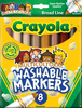 Multicultural 8/Pkg - Crayola Broad Line Washable Markers CRAYOLA-Multicultural Washable Markers. Crayola Washable Markers are formulated to easily wash from skin and most children's clothing. This unique marker set contains eight different skin colors to represent people from around the world. Conforms to ASTM D4236. WARNING: CHOKING HAZARD-Small Parts. Not for children under 3 years. Imported.
