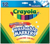 Assorted Colors 12/Pkg - Crayola Broad Line Washable Markers CRAYOLA-Washable Markers.  Washable markers are specially formulated to have the bright, vivid colors and overall great quality you expect from Crayola products. They easily wash from skin and most children's clothing.  This package contains twelve broad line markers.  Ink May stain items unable to be laundered: walls, vinyl, ceramic, wood, carpets and more. Ink conforms to ASTM D4236 and ANSI Z356.5.  Made in USA.