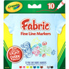 Crayola Fine Line Fabric Markers 10/Pkg CRAYOLA-Fine Line Fabric Markers. Create wild, bright designs on clothes and accessories<BR>- even on dark colored fabrics! Works great on most cotton or polyester garments. This package contains ten fabric fine line markers. Recommended for 4 and up. WARNING: CHOKING HAZARD-Small Parts. Not suitable for children under 3. Conforms to ASTM D 4236. Non-toxic. Imported.
