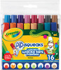 16/Pkg - Crayola Pip-Squeaks Washable Wacky Tip Markers CRAYOLA-Pip-Squeaks Washable Wacky Tip Markers. Pip-Squeaks markers are small in size but BIG in color! The short, easy-to-hold barrels are designed for little hands and the ink is Crayola's special washable formula that will wash off skin and most washable clothing. This package contains sixteen wacky tip markers (two of each tip design) in an assortment of bright colors and a reusable storage pouch. Conforms to ASTM D 4236. Non-toxic. WARNING: CHOKING HAZARD- Small parts. Not for children under 3 years. Imported.
