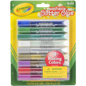 Bold - Crayola Washable Glitter Glue Pens .35oz 9/Pkg