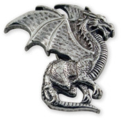 "Winged Dragon - Concho Rivetback 1""X1"" Antique Silver 1/Pkg"