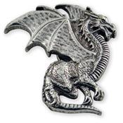 "Winged Dragon - Concho Rivetback 1""X1"" Antique Silver 1/Pkg"
