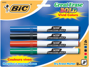 Blue/Black/Red/Green - Bic Great Erase Bold Dry Erase Markers Fine Point 4/Pkg
