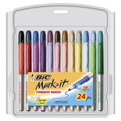 Assorted - Bic Mark-It Permanent Markers Fine Point 24/Pkg