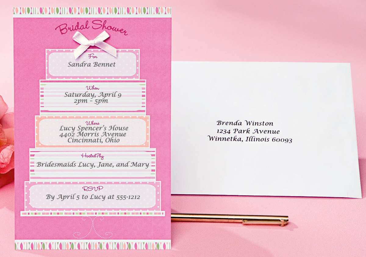 Bridal Shower/Pink & White Cake - Invitation Kit Makes 12