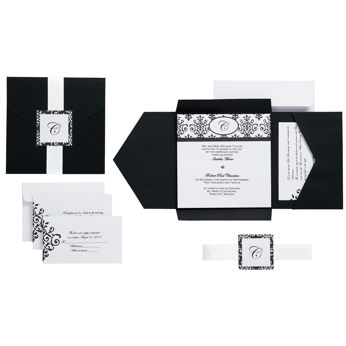 Black & White Scroll Monogram - Invitation Kit Makes 25