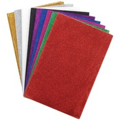 "Assorted Colors - Glitter Sticky Back Foam Sheets 6""X9"" 12/Pkg"