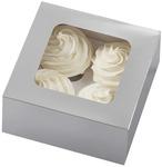 Cupcake Boxes-4 Cavity Silver 3/Pkg