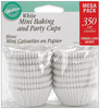 White 350/Pkg - Mini Baking Cups WILTON-Mini Baking Cups.  The easiest way to dress up a cupcake! Ideal for holding candy and nuts too!  Microwave safe.  Size: 1-1/4in. Includes 350 cups in each package.  Imported.