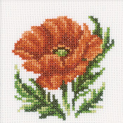 "4""X4"" 14 Count - Poppy Flower Counted Cross Stitch Kit"