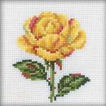 """4""""X4"""" 14 Count - Yellow Rose Counted Cross Stitch Kit"""